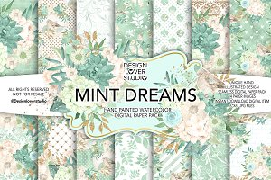 Watercolor MINT DREAMS DP pack
