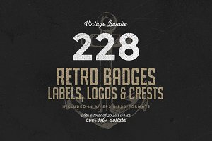 228 Retro Badges & Logos Bundle