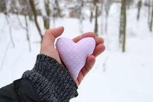 Love winter holidays idea. Hand holding a heart on the background of the forest