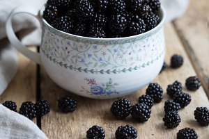 Blackberries in a mug