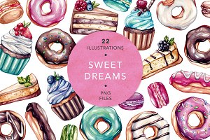 Sweet Dreams. Watercolor Sweets