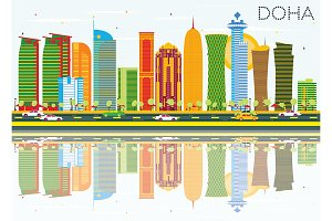 Doha Skyline with Color Buildings