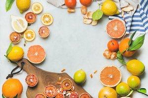 Natural fresh citrus fruits