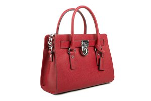 Red leather Women's handbag