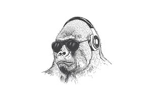 Monkey music fan hand drawn vector