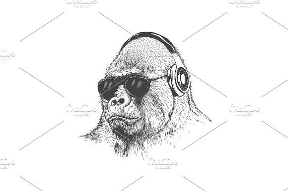 Monkey Music Fan Hand Drawn Vector