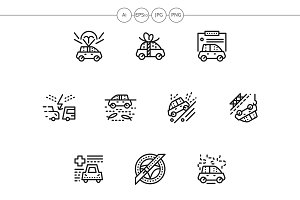 Car insurance black line icons set