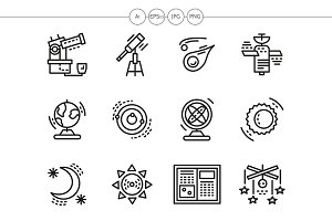 Astronomy black line icons set