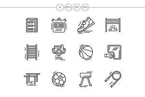 Sport equipment black line icons set