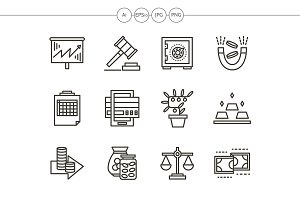 Finance black line icons set