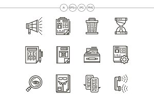 HR management black line icons