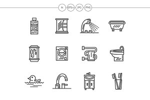Bathroom black line icons