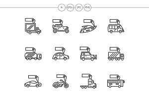 Vehicles sale black line icons set