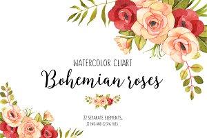 Roses watercolor boho clip art