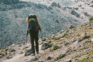 Traveler backpacker mountaineering