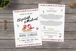 Watercolor Love Birds Wedding Invite