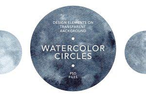 Watercolor Circles. Textures, frames