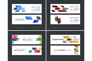 Vector set of modern horizontal website banners with yellow dyna
