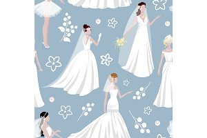 Wedding bride girl character seamless pattern background