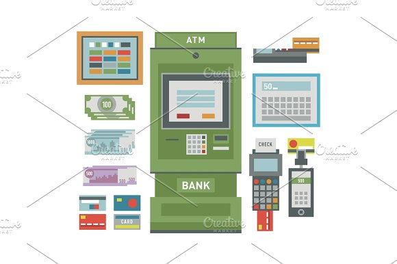 ATM Icons Vector Illustration