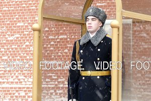 Soldier at the tomb of the unknown soldier in Moscow in winter
