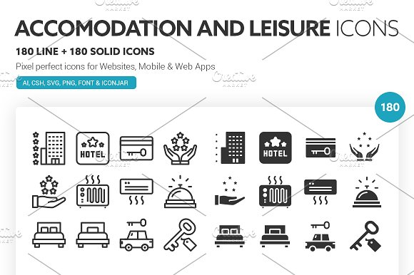 Accommodation and Leisure Icons