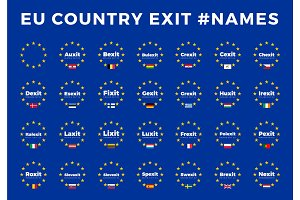 Names for EU exits Members. Brexit, Frexit, Italexit, Spexit
