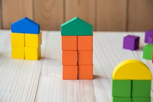 wood cube building blocks