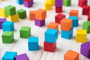 wood cube building blocks