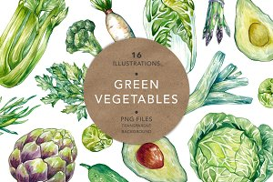 Green Vegetables. Watercolor Bundle