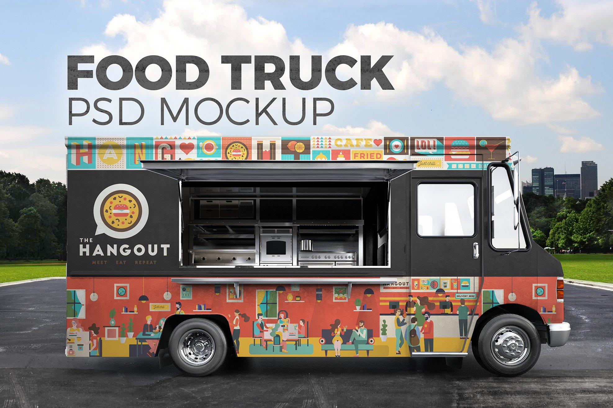 Food truck psd mockup product mockups creative market for How to design a food truck
