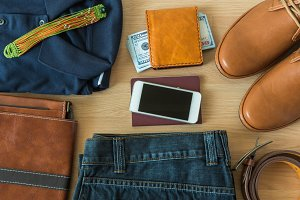 Flat lay of men's casual fashion