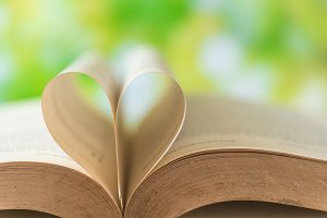 love heart sign on vintage books