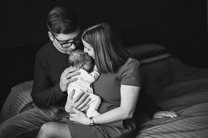 Family with newborn girl
