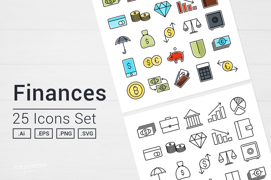Money Finance Icons Set in Icons