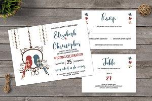 Vintage Love Birds Wedding Invite