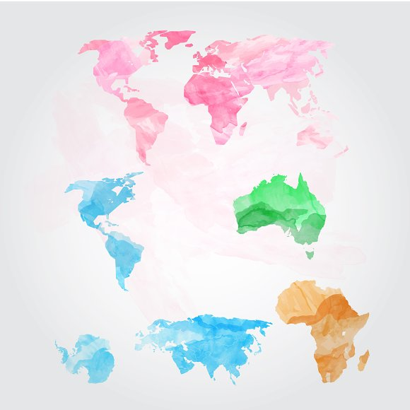 Watercolor world map vector graphics creative market watercolor world map vector graphics gumiabroncs Images