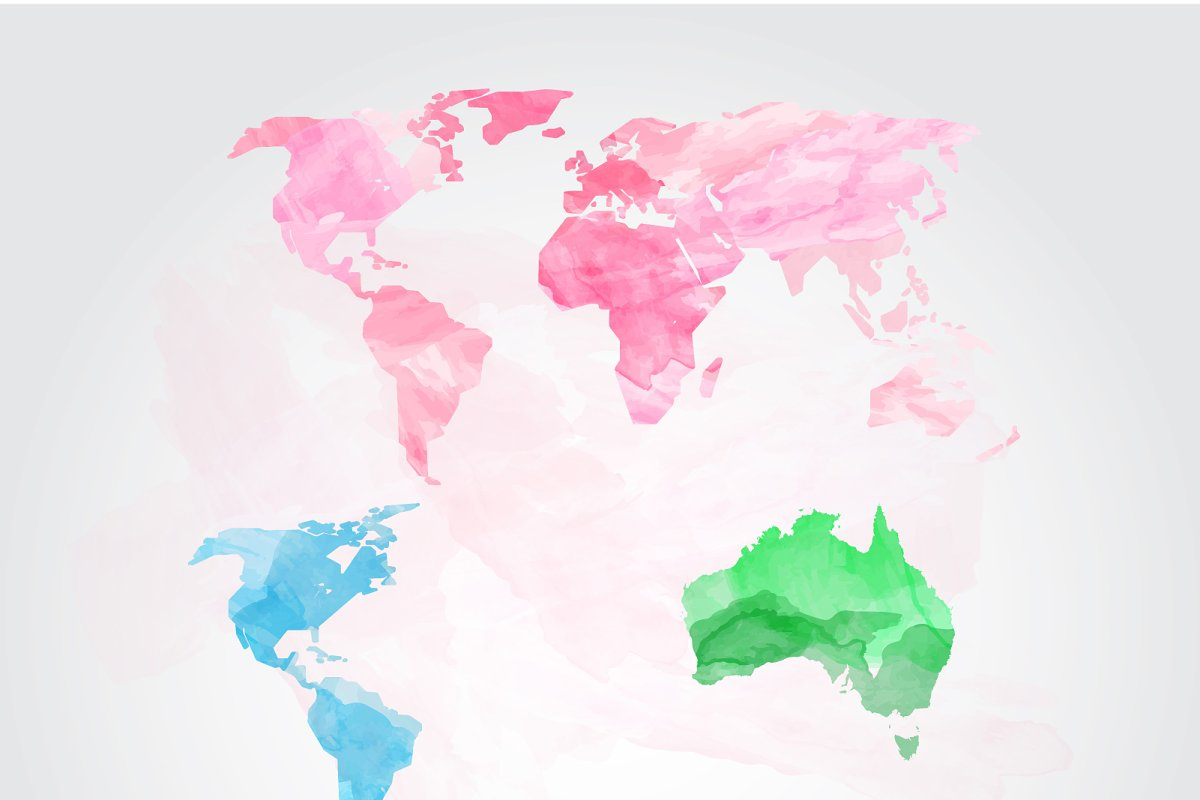 World Map Watercolor Watercolor World Map Vector ~ Graphics ~ Creative Market