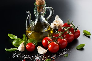 Olive oil, tomatoes and spices.