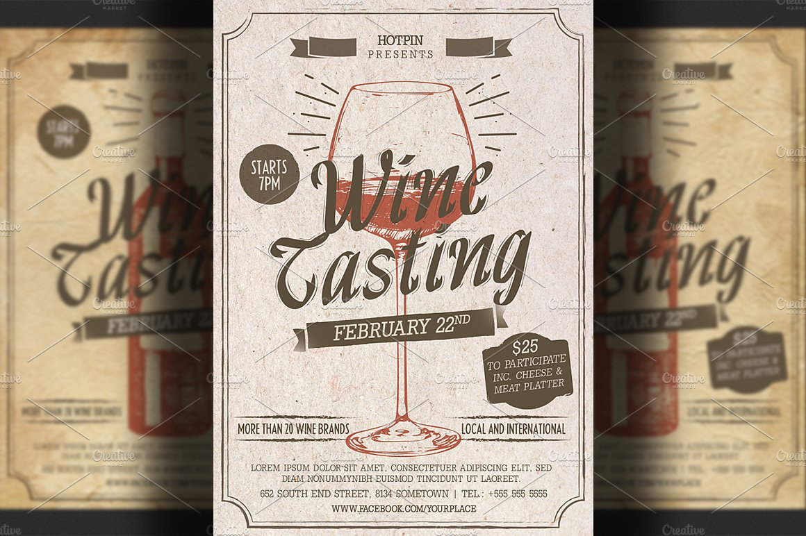 Wine tasting flyer template flyer templates creative for Wine brochure template free