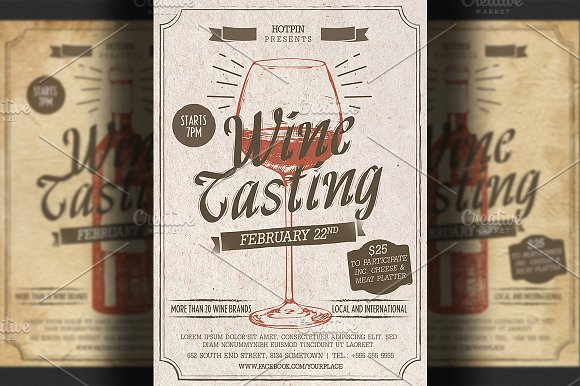 wine tasting flyer template flyer templates on creative market. Black Bedroom Furniture Sets. Home Design Ideas