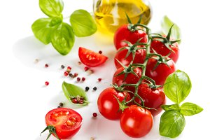 Cherry tomatoes and spices.