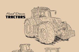 Set of 3 Hand Drawn Tractor Sketches