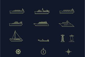 Set of Sea/Shipping Themed Icons