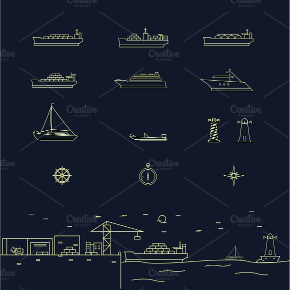 Set Of Sea Shipping Themed Icons