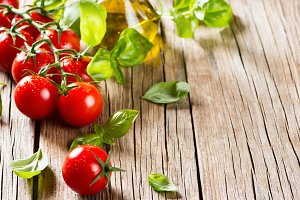 Basil, tomatoes, olive oil.