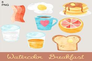 Cute Watercolor Breakfast Clip Art