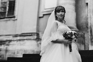 The tenderness bride with bouquet