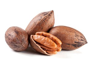 four pecan nuts isolated on white background