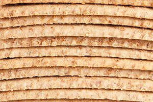 stack of grain crispbreads as background